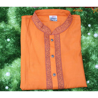 Embroidery Work Panjabi Orange Color
